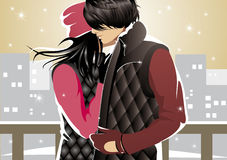 Winter teen couple. Love couple on a winter street Stock Images