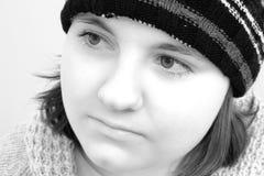 Winter Teen Girl in Black & White Stock Photo