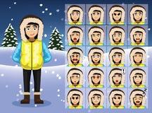 Winter Teen Girl Cartoon Emotion faces Vector Illustration Stock Photo
