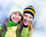 Winter Teenage Girls outdoors. Teenage Girls outdoors. Winter Holidays concept Stock Photos