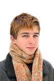 Winter teenager portrait. Teenager portrait in the winter. Isolated on white Royalty Free Stock Photos