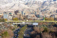 Winter Tehran view with a snow covered Alborz Mountains Stock Image