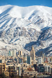 Winter Tehran  view with a snow covered Alborz Mountains Royalty Free Stock Photography