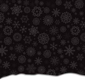 Winter template with falling silver snowflakes and snowdrift. Winter template with falling silver snowflakes and snowdrift on black background. Vector Stock Images