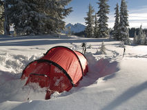 Winter tenting in Central Oregon Stock Photo