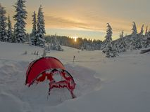 Winter tenting in Central Oregon Royalty Free Stock Images