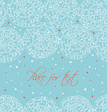 Winter text banner with hand drawn linear circles. Seamless decorative pattern looks like crocheting handmade lace. Vector netting Stock Photos