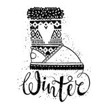 Winter text brush lettering and boots with heart. Seasonal shopping concept design for the banner or label. Royalty Free Stock Images