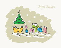 Winter text hand drawn creative Stock Photography