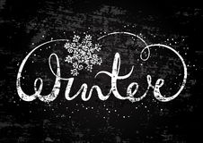 Winter text lettering with snowflake. Seasonal shopping concept to design banners, price or label. Stylized drawing chalk on blackboard. Isolated vector Stock Photo
