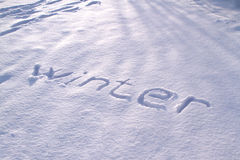 The  Winter  - text on snow Royalty Free Stock Photos