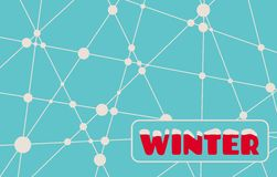 Winter text on snowflakes backdrop. Winter text. Vector illustration. Snowflakes at the intersection of the lines Royalty Free Stock Photos