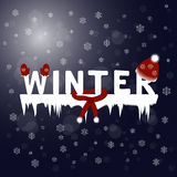 Winter text. Snowflakes night background. Vector illustration Stock Photography