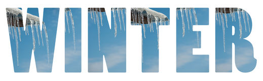 Winter text on white Stock Photos