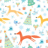 Winter texture with foxes Royalty Free Stock Photo