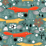 Winter texture with foxes vector illustration
