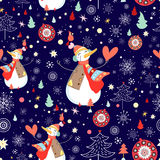Winter texture of snowmen and snowflakes. Christmas seamless pattern of funny snowmen and snowflakes on a dark blue Stock Photos