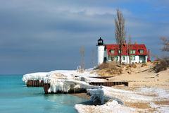 Winter Thaw Point Betise lighthouse Stock Image