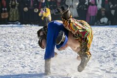 Winter The Hulunbuir Mongolian Style Wrestling, Man, Sports. Stock Images