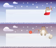 Winter theme banner with cat Royalty Free Stock Images