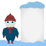Winter theme child. White blank sheet, Winter and snow Stock Images