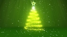 Winter theme for Christmas or New Year background with copy space. Close-Up of Xmas tree from glow shiny particles in. Mid-frame. 3d Xmas tree V1 with snow DOF stock footage