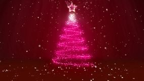 Winter theme for Christmas or New Year background with copy space. Close-Up of Xmas tree from glow shiny particles in. Mid-frame. 3d Xmas tree V1 with snow DOF stock video