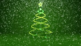 Winter theme for Christmas or New Year background with copy space. Close-Up of Xmas tree from glow shiny particles in. Mid-frame. 3d Xmas tree V4 with snow DOF stock video footage