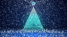 Winter theme for Christmas or New Year background with copy space. Close-Up of Xmas tree from glow shiny particles in. Mid-frame. 3d Xmas tree V3 with snow DOF stock footage