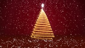 Winter theme for Christmas or New Year background with copy space. Close-Up of Xmas tree from glow shiny particles in. Mid-frame. 3d Xmas tree V8 with snow DOF stock video