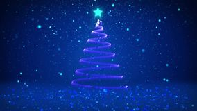 Winter theme for Christmas or New Year background with copy space. Close-Up of Xmas tree from particles in mid-frame. 3d Xmas tree V7 with glitter particles stock video footage