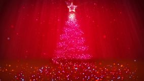 Winter theme for Christmas or New Year background with copy space. Close-Up of Xmas tree from particles in mid-frame. 3d Xmas tree V2 with glitter particles stock footage