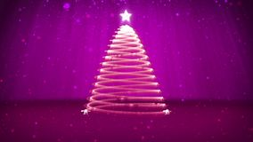 Winter theme for Christmas or New Year background with copy space. Close-Up of Xmas tree from particles in mid-frame. 3d Xmas tree V8 with glitter particles stock video footage