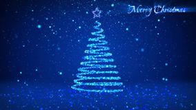 Winter theme for Christmas or New Year background with copy space. Close-Up of Xmas tree from particles in mid-frame
