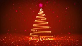 Winter theme for Christmas or New Year background with copy space. Close-Up of Xmas tree from particles in mid-frame. 3d Xmas tree V7 with glitter particles stock footage