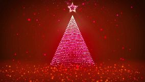 Winter theme for Christmas or New Year background with copy space. Close-Up of Xmas tree from particles in mid-frame. 3d Xmas tree V3 with glitter particles stock footage