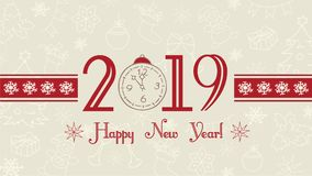 Vector 2019 Happy New Year background, web banner, text label with snowflakes. Winter theme doodles illustration.Greeting card template, flat pastel design stock illustration