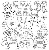 Winter Theme Drawings 1 Royalty Free Stock Images
