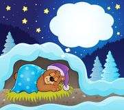 Winter theme with dreaming bear Stock Images