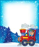Winter theme with locomotive. Eps10 vector illustration Royalty Free Stock Photo