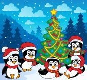 Winter theme with penguins  Stock Images