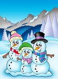 Winter theme with snowman family Stock Image