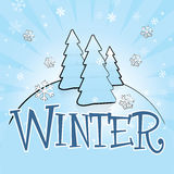 Winter Theme. Vector Illustration of snow-covered trees with custom-designed lettering Royalty Free Stock Photos