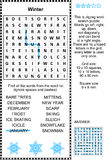 Winter themed wordsearch puzzle Royalty Free Stock Photography