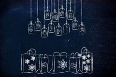 Winter themed Xmas shopping bags Stock Photo