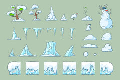 Winter Tile set for Platformer Game, Seamless vector ground blocks games design royalty free stock photography