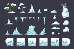 Winter Tile set for Platformer Game, Seamless vector ground blocks games design Royalty Free Stock Image