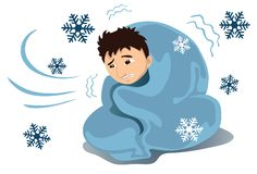 It Is Winter Time. An image of a young shivering man covered with a blanket while snowflakes are falling around him Royalty Free Stock Image