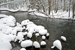 Winter time. River in winter with snow Royalty Free Stock Images