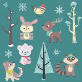 Winter Time Baby Animals Vector Set. This illustration set contains 6 baby animals in winter time, with scarfs and winter hats. Also in the set you will get royalty free illustration